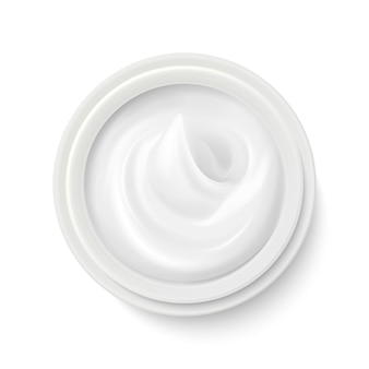 Biała śmietanka w pakunku zbiornika odgórnego widoku ilustraci. produkt kosmetyczny do pielęgnacji