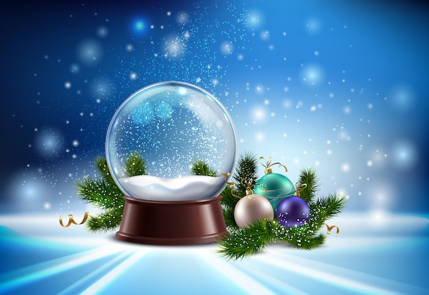 Biała śnieżna kula ziemska realistyczny skład z hristmas drzewnymi zabawkami i zimy błyskotliwości ilustracją