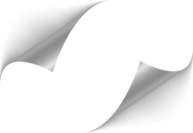 Biała strona obraca się w prawym dolnym rogu. zakrzywiony róg strony.