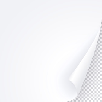 Biała strona z zawiniętym rogiem, pusty szablon papieru