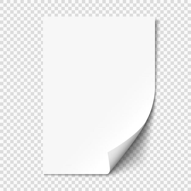 Biała strona zwija się na pustym arkuszu papieru z cieniem