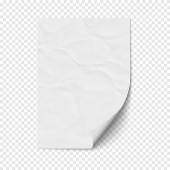 Biała strona zwija się na pustym arkuszu pogniecionego papieru