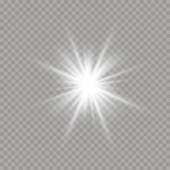 Biała świecąca gwiazda z lekkim wybuchem. jasna gwiazda na przezroczystym tle. blask, wybuch, blask, linia, rozbłysk słoneczny. lśniące magiczne cząsteczki pyłu.