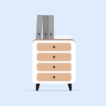 Biała szafka w stylu loft. stolik nocny z dokumentami.