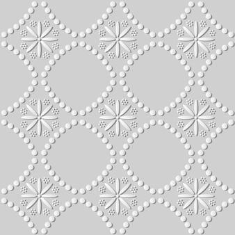 Biała sztuka papieru okrągła kropka linia krzyż kwiat, stylowe tło wzór dekoracji dla karty z pozdrowieniami baneru internetowego