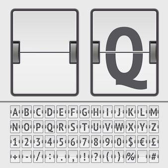 Biała tablica wyników alfabet, cyfry i simbols. wektor eps10