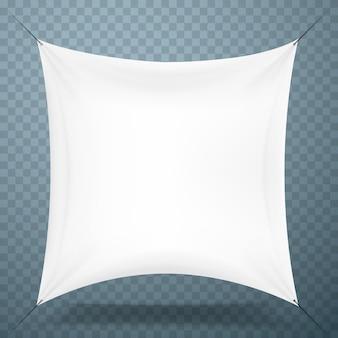 Biała tkanina transparent szyld przezroczyste tło. ilustracja wektorowa