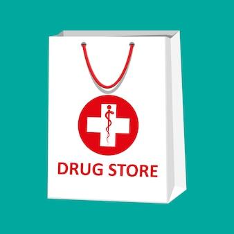 Biała torba na zakupy na pigułki i butelki medyczne