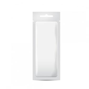 Biała torebka foliowa saszetka torebka do pakowania kosmetyków, leków, produktów spożywczych. realistyczny szablon