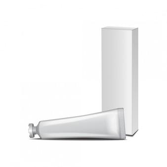 Biała tuba z białym pudełkiem - krem, żel, pielęgnacja skóry, pasta do zębów. gotowy do twojego projektu. szablon opakowania.