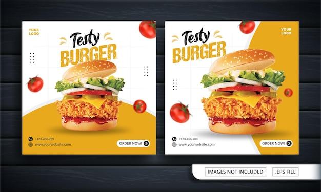Biała ulotka lub baner w mediach społecznościowych dla postu burger
