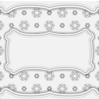 Biała ulotka z pozdrowieniami z czarnym luksusowym wzorem
