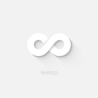 Biała wektorowa ikona nieskończoności przedstawiająca stan nieograniczenia lub nieograniczenia przestrzenią czasową lub ilością