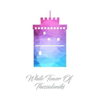 Biała wieża w salonikach wielokąta logo