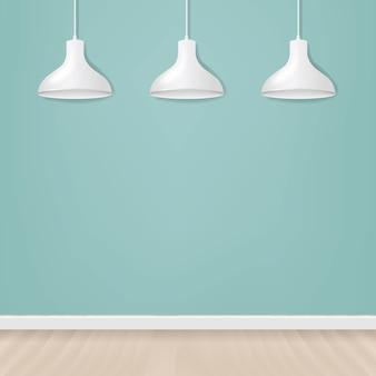 Biała wisząca lampa na białym tle miętowej z siatką gradientu.