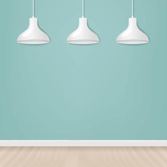 Biała wisząca lampa na pustej ściany tle