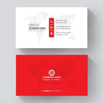 Biała wizytówka z czerwonymi detalami