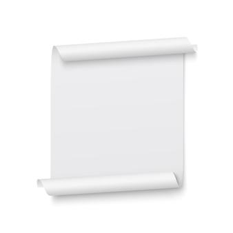 Biała wstążka. transparent. zwój papieru. ilustracja.