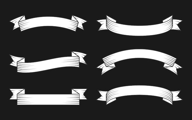 Biała wstążka z czarnym zestawem konturów. taśma dekoracyjna w starym stylu hipster w grawerowanie. pusty prosty szablon o innym kształcie