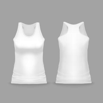 Biała żeńska sporta podkoszulek bez rękawów ilustracja 3d realistyczny przypadkowy lub sportswear