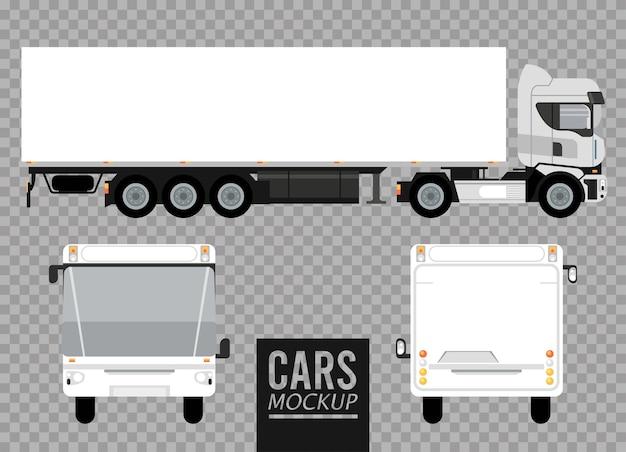 Białe autobusy i duże makiety samochodów ciężarowych