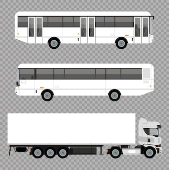 Białe autobusy i makiety samochodów ciężarowych
