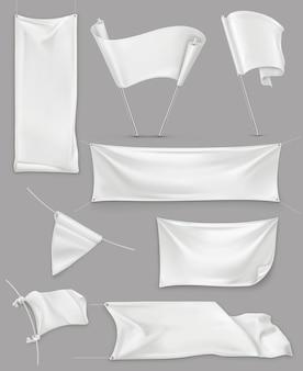 Białe banery i flagi, ilustracja siatki, wektor zestaw