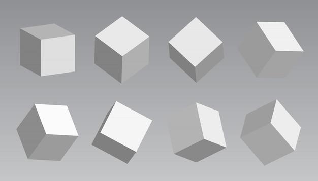 Białe bloki, modelowanie 3d białych kostek