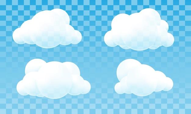Białe chmury 3d kolekcja okręgów na błękitne niebo przezroczyste tło wektor ilustracja.