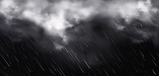 Białe chmury, deszcz i mgła na niebie