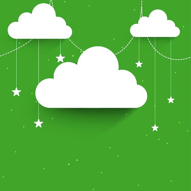 Białe chmury i gwiazdy urządzone na zielonym tle na celebracji muzułmańskich wspólnoty festiwalu.