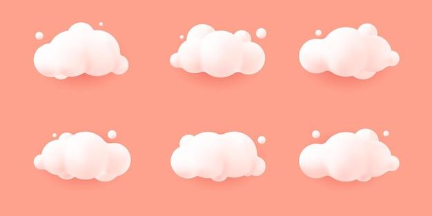 Białe chmury realistyczne 3d na białym tle na różowym tle pastelowych. renderuj miękkie okrągłe kreskówki puszyste chmury ikona na niebie. 3d geometryczne kształty ilustracji wektorowych