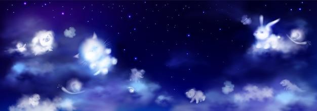 Białe chmury w kształcie uroczych zwierzątek na nocnym niebie z gwiazdami