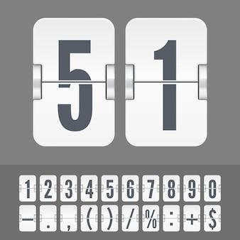 Białe cyfry i symbole na mechanicznej tablicy wyników na białym tle na ciemnym tle. szablon wektorowy licznika czasu lub minutnika strony internetowej