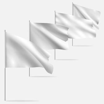 Białe czyste poziome macha flagą szablon, na białym tle na tle. flaga .