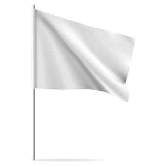 Białe czyste poziome macha flagą szablon, na białym tle na tle. makieta flagi.