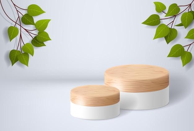 Białe drewniane podium na białym tle z liśćmi prezentacja produktu makieta wystawa produktów kosmetycznych cokół lub ilustracja wektorowa platformy d