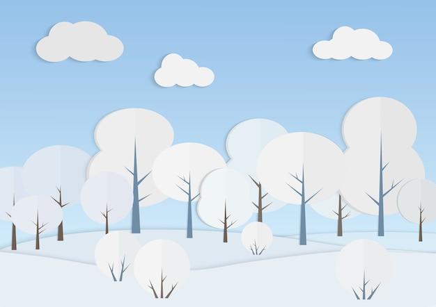 Białe drzewa w zimowym lesie. śnieżny krajobraz pod grafiką z papieru błękitnego nieba. widok natury w zimny dzień. nowy rok i projekt kartki świąteczne. tło sezonowych scenerii