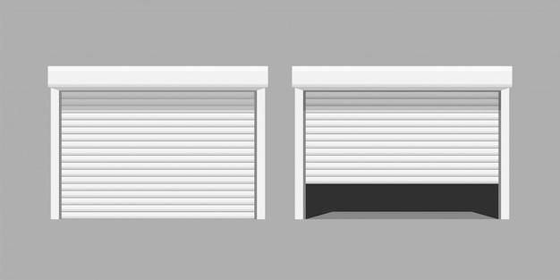 Białe drzwi garażowe na szarym baclground