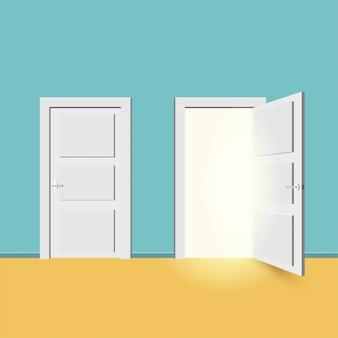 Białe drzwi zamknięte i otwarte.