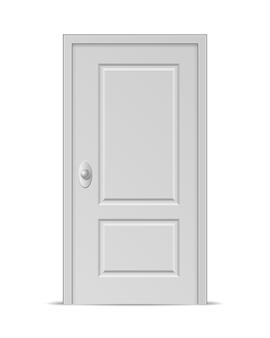 Białe drzwi zamknięte na białym tle