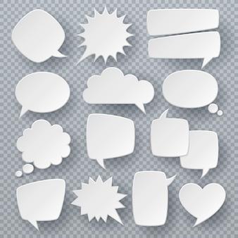 Białe dymki. myśli tekstowe symbole bańki, kształty mowy bąbelkowej origami. retro komiks dialog chmury wektor zestaw
