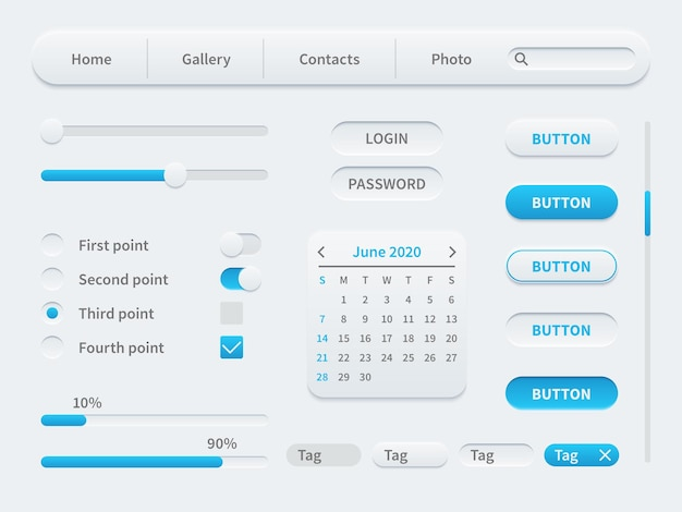 Białe elementy interfejsu. uniwersalny szablon interfejsu użytkownika dla aplikacji mobilnych i stron internetowych. prosty zestaw narzędzi, przycisków i responsywnego designu