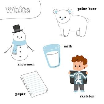 Białe elementy z angielskimi słowami