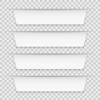 Białe etykiety z zakładkami. puste banery plansza, tagi wstążki infografiki