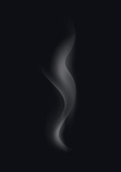 Białe fale dymu papierosowego na czarnym tle