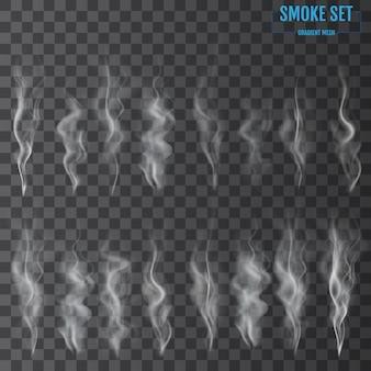 Białe fale dymu papierosowego