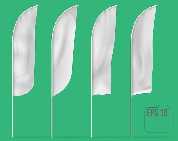 Białe flagi banner. flagi banerowe.