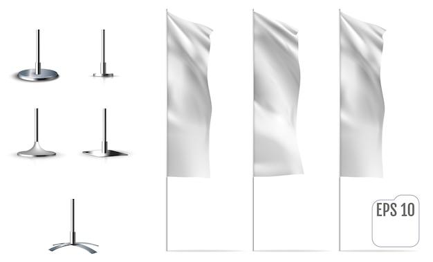 Białe flagi. realistyczne makiety flag banerowych z zakładkami. wektor