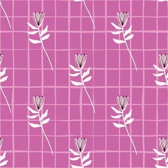 Białe gałązki i kwiaty wzór. jasne liliowe tło z czekiem. prosty kwiatowy nadruk.